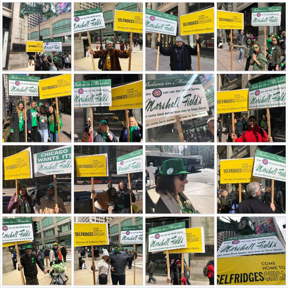 93f9123631 Below are some photos of those who volunteered to pose with our signs in  support of a return of Marshall Field s to State Street.